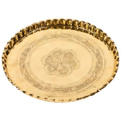 Vintage Round Brass Tray with Fluted Edges