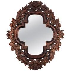 Vintage Hard Carved Wood Framed Mirror
