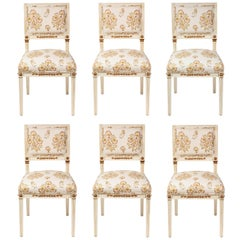 Set of 6 Dining Chairs Newly Upholstered in Penny Morrison 100% Linen