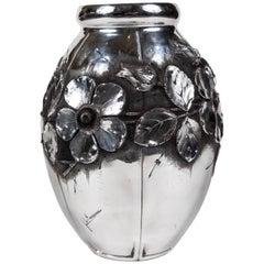 French Art Nouveau Aluminum Vase by L. Houzeaux
