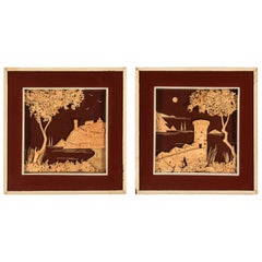 Pair of Vintage Cork Diorama Landscapes of Castles from England