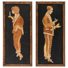 Pair of 1920s Hand Embroidered Portraits