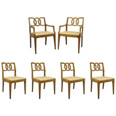 6 John Stuart Walnut Mid-Century Modern Interlocking Pretzel Back Dining Chairs