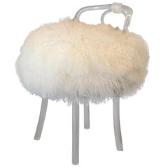 Mid-Century Modern Swivel Fur Lucite Stool, Vanity Chair, Boudoir Stool