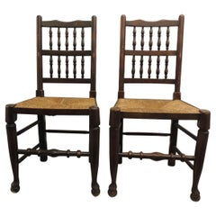 Antique English Country Harlequin Wood Chair