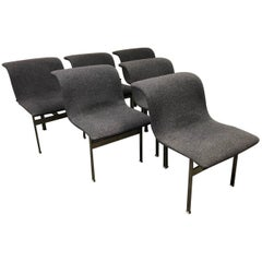 Set of Six Saporiti Italia Giovanni Offredi Wave Dining Chairs