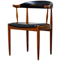 Set of Four Johannes Andersen Chairs in Teak & Black Vinyl