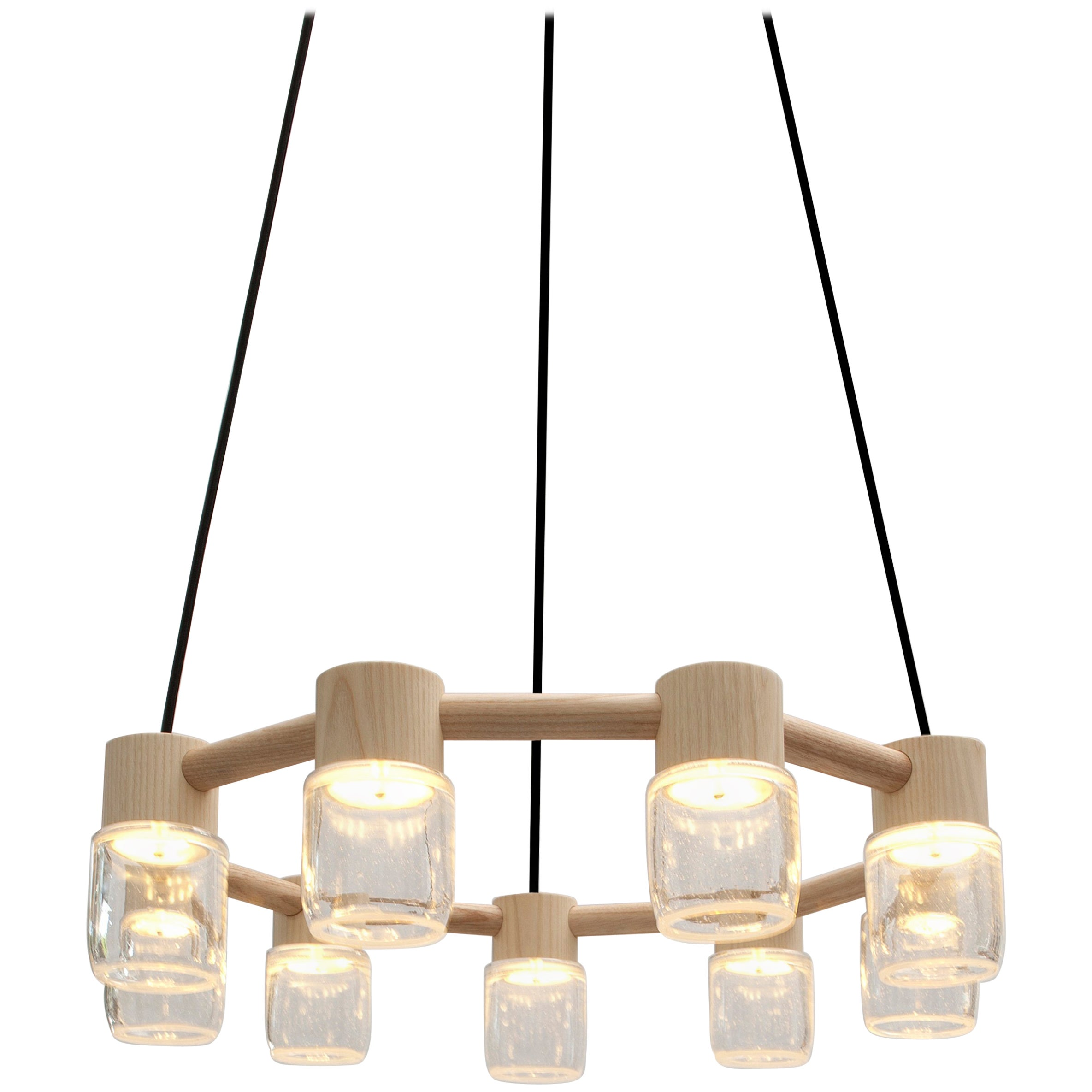 Circlet Chandelier Clear Blown Glass Wood Led Lighting Contemporary