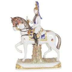 Scheibe-Ansbach Hand Painted Porcelain Horse and Soldier