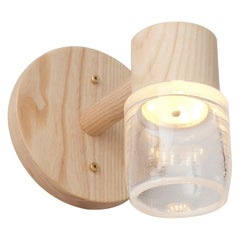 Circlet Single Sconce Clear Blown Glass Wood LED Lighting Contemporary