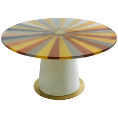 Round Table, Resin Top, White Onyx and Brushed Brass Base
