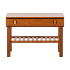 Small Sideboard in Teak and Leather Produced in Sweden