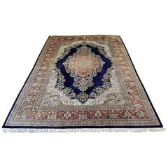 Large Indian Kashmir Silk Area Rug, Sapphire Blue, Green, Brown and Cream