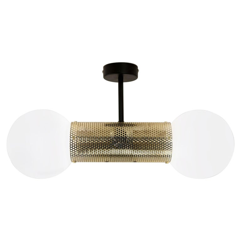 Perf Double Pendant Light, Brass Perforated Tube, Glass Round Orb Shades For Sale