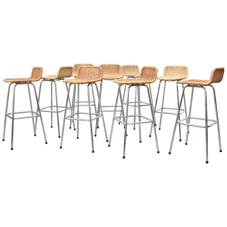 Charlotte Perriand Style Wicker Bar Stools For Sale