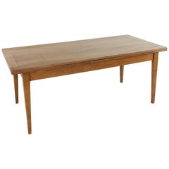 French Oak Farm Table with Two Draw Leaves, Seats Eight or Twelve Fully Extended