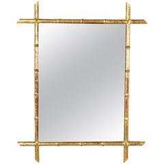 Late 19th Century French Giltwood Faux Bamboo Mirror with Beveled Glass