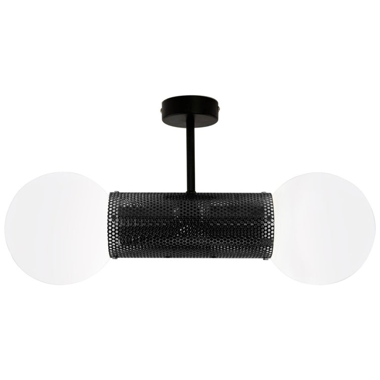 Perf Double Pendant Light, Matte Black Perforated Tube, Glass Round Orb Shades For Sale
