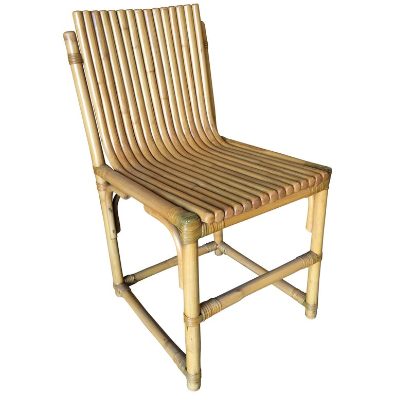 Midcentury Rattan Vertically Stacked Side Chair in the Style of Paul Frankl For Sale