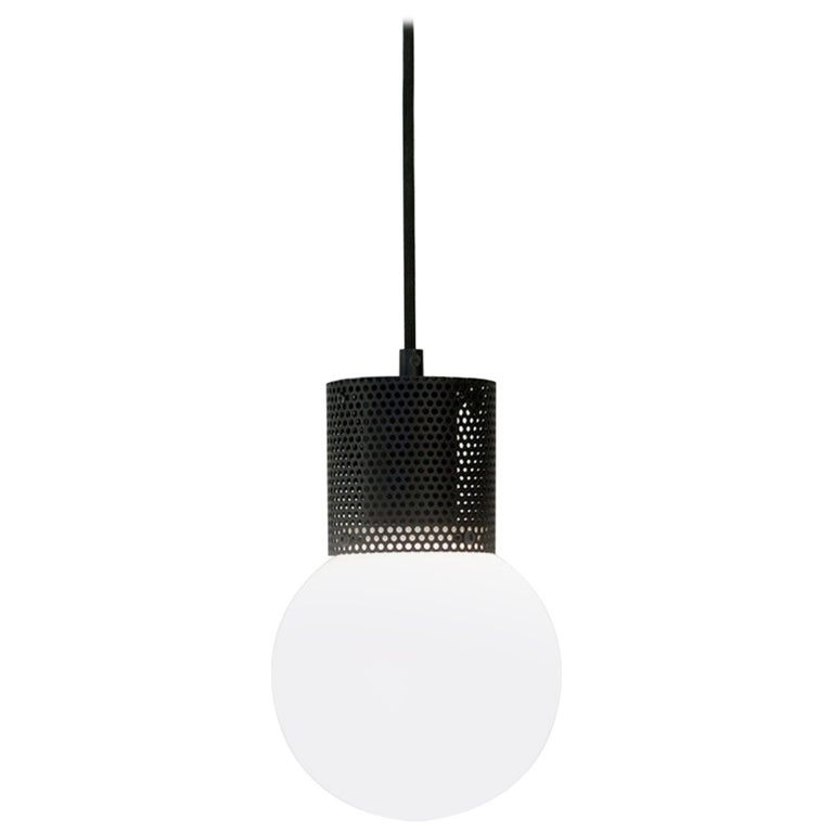 Perf Pendant Light Small-Black Perforated Tube, Glass Round Orb Shade For Sale
