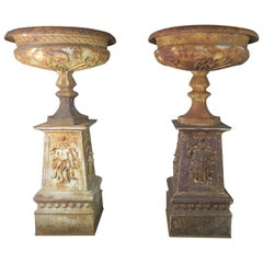 19th Century Art Nouveau Monumental French Cast Iron Urns on Bases