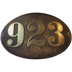 Antique Bronze Sign from Danish Train, 1910s