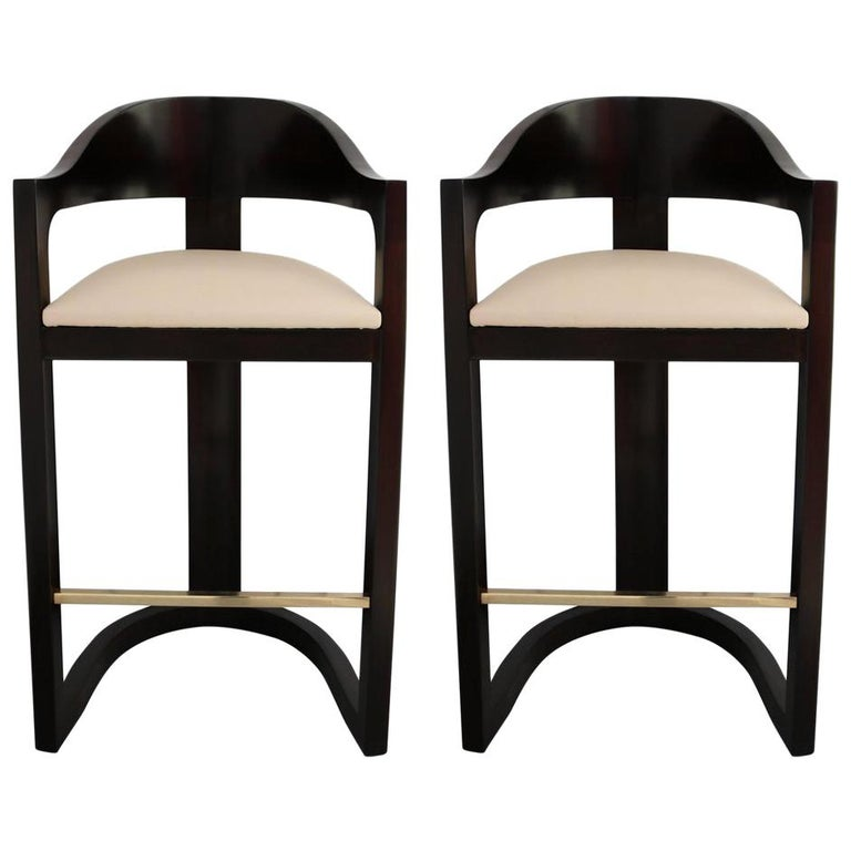Pair of Bar Stools with Brass Foot Rests by Karl Springer For Sale