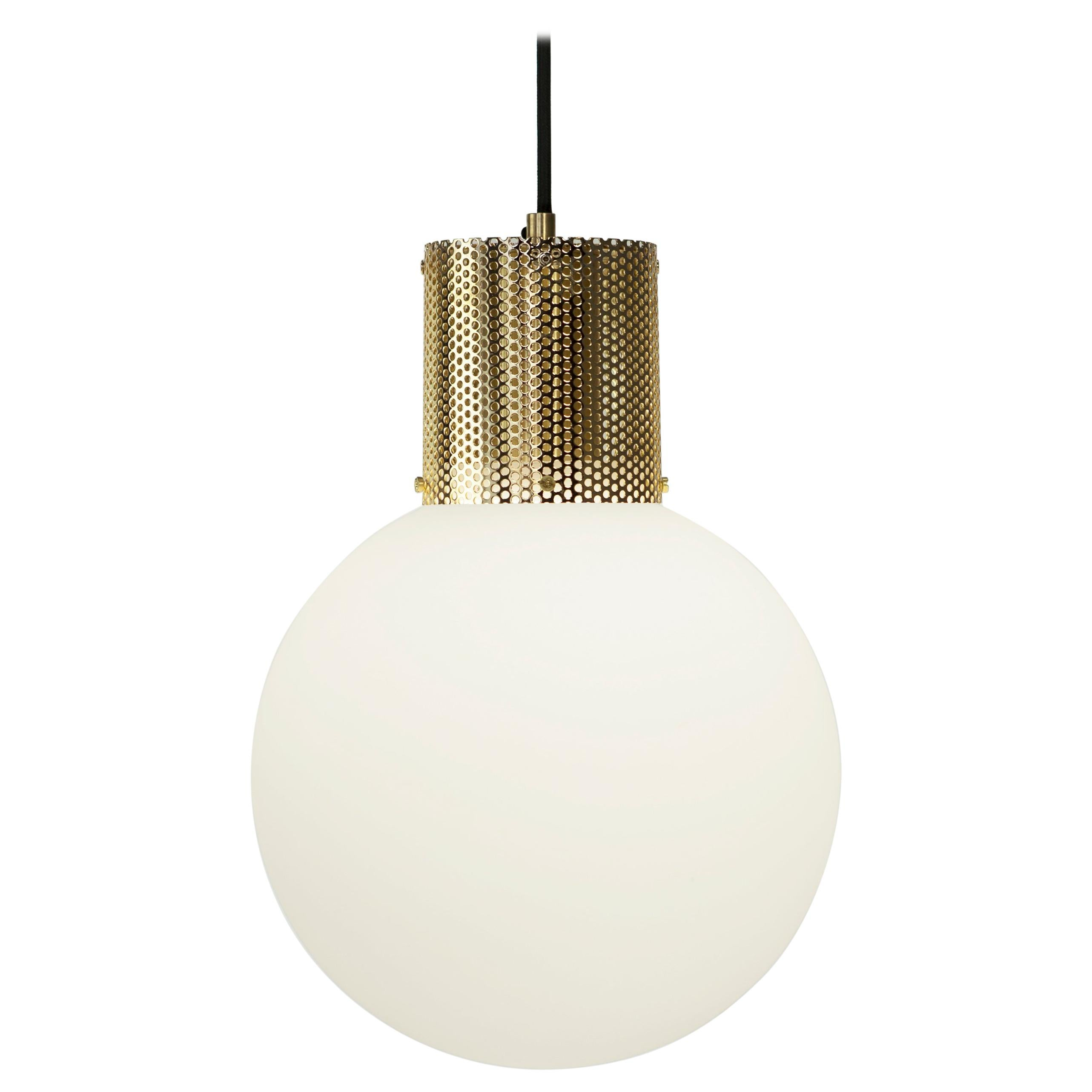 Perf pendant light small brass perforated tube glass round orb shade for sale at 1stdibs