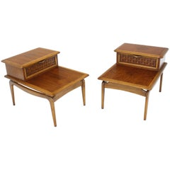 Pair of Walnut Lane Step Tables One Drawer Floating Tops Brass Ball Stand Offs