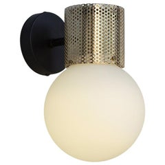 Perf Wall Sconce, Brass Perforated Tube, Glass Round Orb Shade