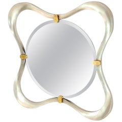 Silver Gold Leaf Free Organic Form Frame Round Beveled Wall Mirror