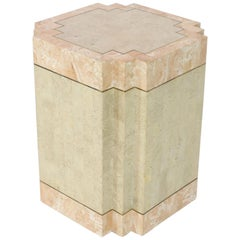 Tessellated Stone Tile Brass Inlay Square Pedestal