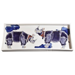 Large Japanese Kutani Blue Porcelain Charger by Contemporary Master Artist