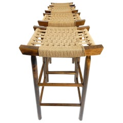 1960s Modernist Japanese Craftsman Bar Stool Set