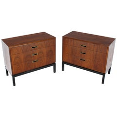 Pair of Walnut Book Matched Fronts Three Drawers Bachelor Chests Ebonized Base