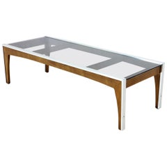 Rectangular Walnut Aluminum Frame Smoked Glass Coffee Table