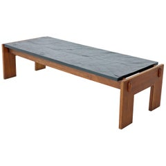 Crafts Associates Adrian Pearsall  Walnut Frame Slate Top Coffee Table