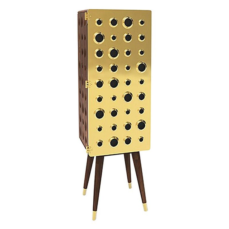 Monocles Tall Cabinet in Brass and Wood by Essential Home For Sale