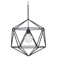 Rough Diamond Globe, Matte Black Wire Frame Geometric Pendant Light