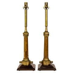 Victorian Fire Hose Nozzle Lamps, Pair