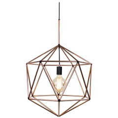 Rough Diamond Globe, Copper Wire Frame Geometric Pendant Light