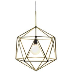 Rough Diamond Globe, Brass Wire Frame Geometric Pendant Light