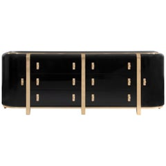 Kahn Sideboard in Black with Brass Detail by Essential Home