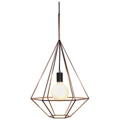 Rough Diamond, Type A, Copper Wire Frame Geometric Pendant Light