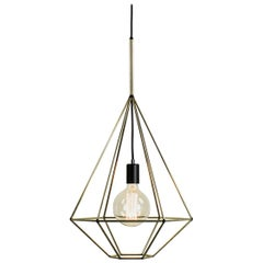 Rough Diamond Type A, Brass Wire Frame Geometric Pendant Light