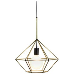Rough Diamond, Type B, Brass Wire Frame Geometric Pendant Light