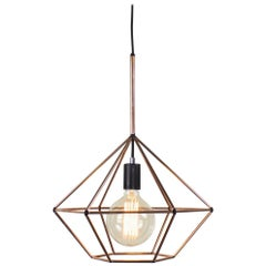 Rough Diamond Type B, Copper Wire Frame Geometric Pendant Light