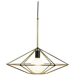 Rough Diamond, Type C Brass Wire Frame Geometric Pendant Light