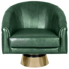 Bogarde Armchair in Green Leather by Essential Home