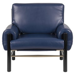 Dean Armchair in Blue Leather by Essential Home